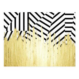 Pinte los movimientos en falso oro en raya negra y postal