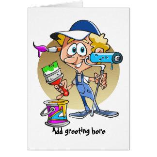 Pintor divertido y decorador personalizados tarjeta de felicitación