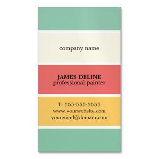 Pintor profesional rayado colorido fresco tarjetas de visita magnéticas (paquete de 25)
