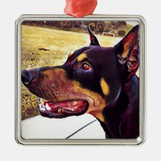 Pintura 2 del remolino del Doberman Adorno De Cerámica