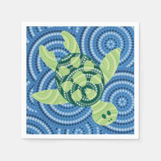 Pintura aborigen del punto de la tortuga servilletas desechables