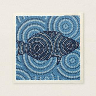 Pintura aborigen del punto de los pescados servilleta desechable