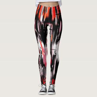 Pintura abstracta blanca negra anaranjada roja leggings