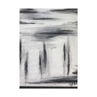 Pintura abstracta blanca y gris negra lienzo