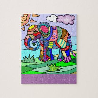 Pintura abstracta colorida del elefante de puzzle