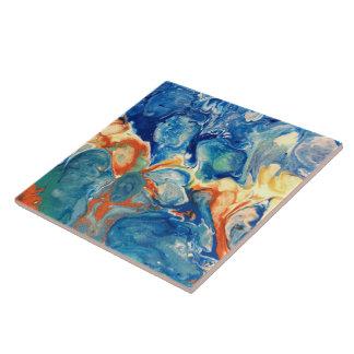 Pintura abstracta de acrílico extranjera azul azulejo
