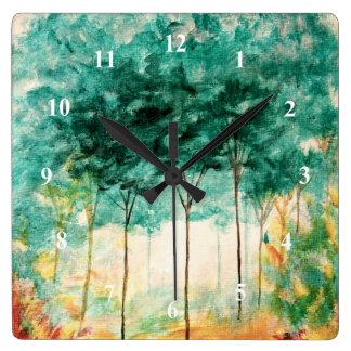 Pintura abstracta del bosque de los árboles del reloj cuadrado