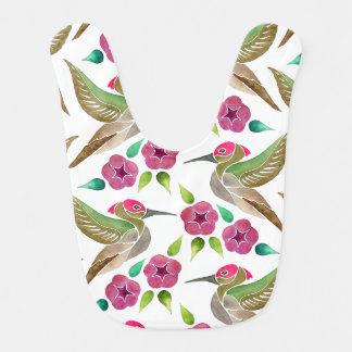 Pintura abstracta del colibrí y de la petunia babero de bebé
