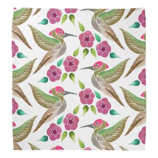 Pintura abstracta del colibrí y de la petunia bandana