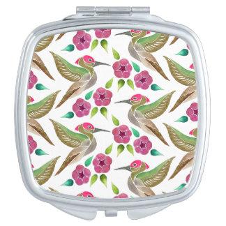 Pintura abstracta del colibrí y de la petunia espejos de viaje