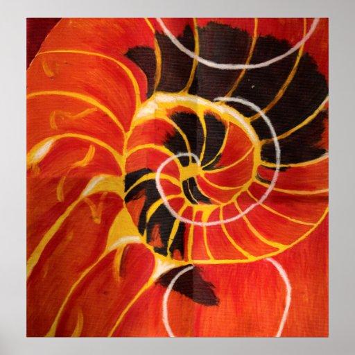 Pintura abstracta del collage del caracol póster