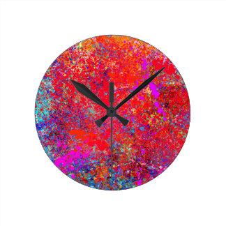 Pintura abstracta en lona reloj redondo mediano