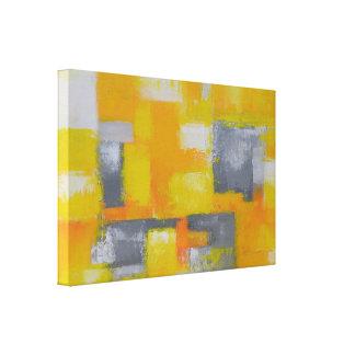pintura abstracta moderna blanca amarilla gris lienzo
