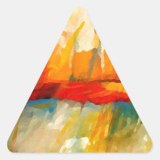 Pintura abstracta moderna del expresionista pegatina triangular