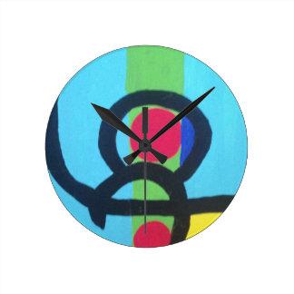 Pintura abstracta reloj redondo mediano