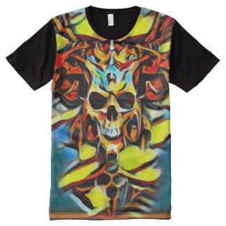 Pintura acrílica colorida del cráneo del demonio camiseta con estampado integral