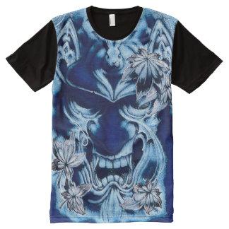 Pintura acrílica japonesa azul de la máscara del camisetas con estampado integral