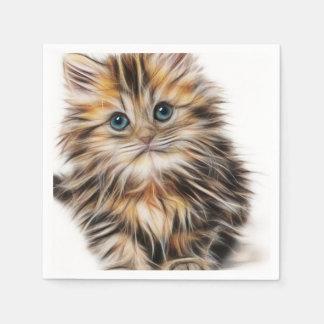 Pintura adorable del gatito servilleta de papel