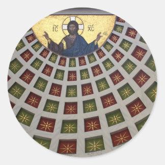 Pintura adornada en el techo de una iglesia pegatinas redondas