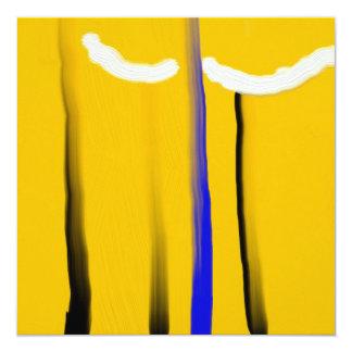 Pintura al óleo amarilla abstracta del blanco del invitación 13,3 cm x 13,3cm