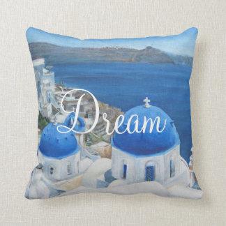 Pintura al óleo de Santorini Oia Cojín Decorativo
