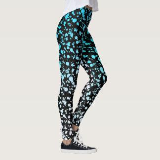Pintura azul de la pintada 90s de la salpicadura leggings