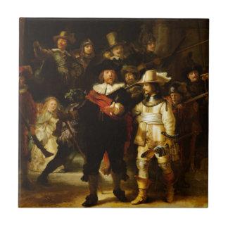 Pintura barroca del guardia nocturna de Rembrandt Azulejo Cuadrado Pequeño