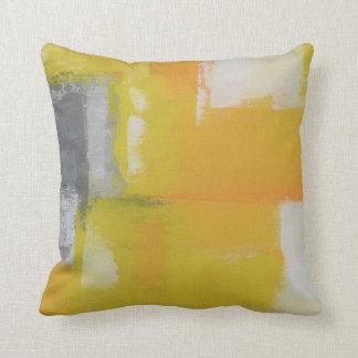 pintura blanca amarilla gris del arte abstracto cojín decorativo