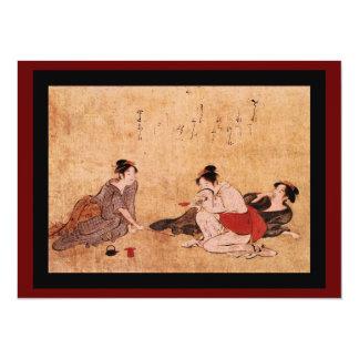 Pintura borracha del vintage de tres mujeres invitación 13,9 x 19,0 cm