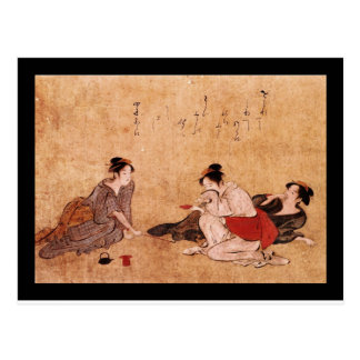 Pintura borracha del vintage de tres mujeres postal