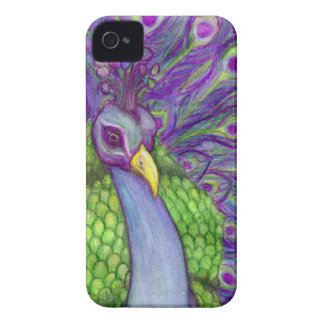 Pintura brillante hermosa del retrato del pavo funda para iPhone 4 de Case-Mate