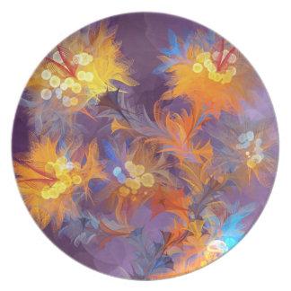 Pintura colorida abstracta de la flor platos de comidas