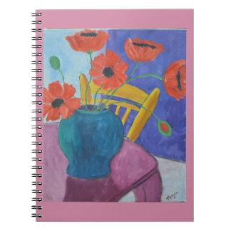 Pintura colorida de la amapola cuaderno