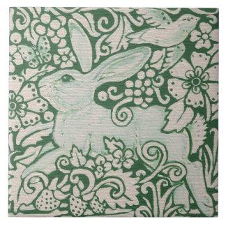 """Pintura corriente del conejo verde en 6"""" teja"""