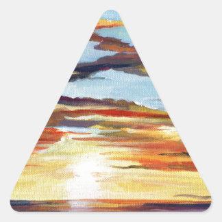 Pintura de acrílico de la puesta del sol pegatina triangular