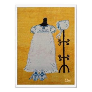 Pintura de acrílico del día del bautizo invitación 13,9 x 19,0 cm