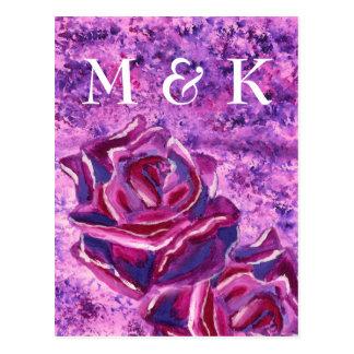 Pintura de acrílico violeta azul preciosa de los postal