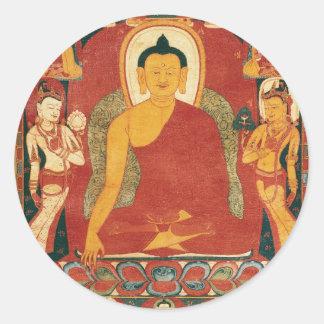 Pintura de Buda del vintage Etiqueta Redonda