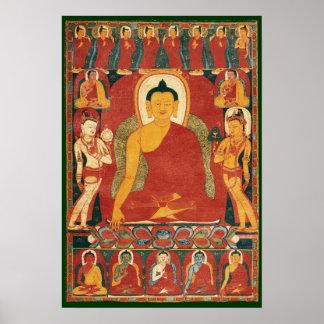 Pintura de Buda del vintage Póster