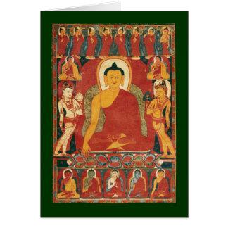 Pintura de Buda del vintage Tarjeton