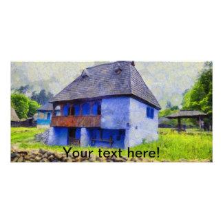 Pintura de casa azul tarjeta
