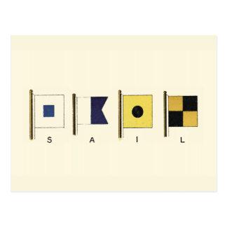 Pintura de cuatro banderas con la vela escrita postal