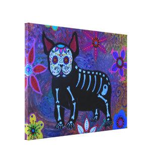 Pintura de Dia de los Muertos Bulldog Impresión En Lienzo Estirada