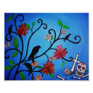 Pintura de Dia de los Muertos Crows Fotografía