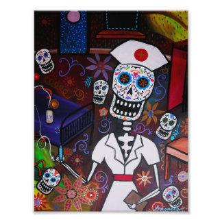 Pintura de Dia de los Muertos Nurse Impresion Fotografica