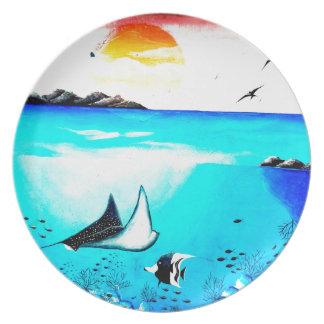 Pintura de escena subacuática hermosa plato