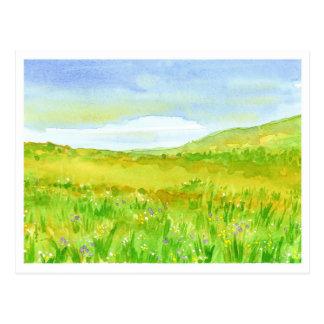 Pintura de la acuarela de la pradera del postal