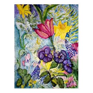 Pintura de la acuarela del jardín de la primavera postales