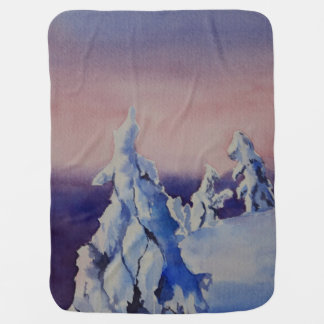 Pintura de la acuarela del paisaje de la puesta manta de bebé