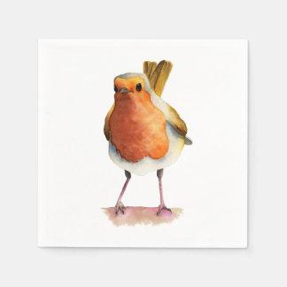 Pintura de la acuarela del pájaro del petirrojo servilleta de papel